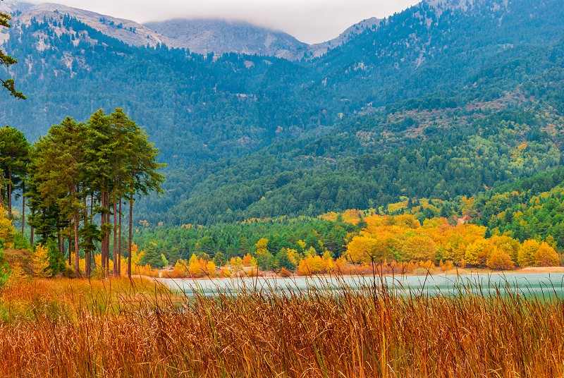 Picturesque autumn landscape in Doxa lake in Peloponnese Greece photo
