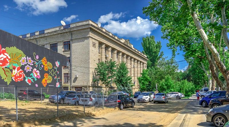 Chisinau Moldova – 06.28.2019. National Library  in the center of Chisinau capital of Moldova on a sunny summer day photo