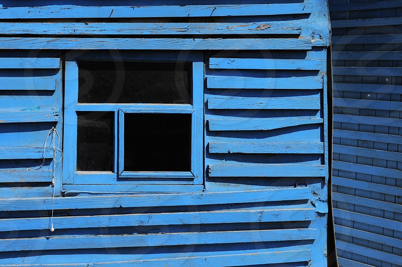 blue wooden window photo