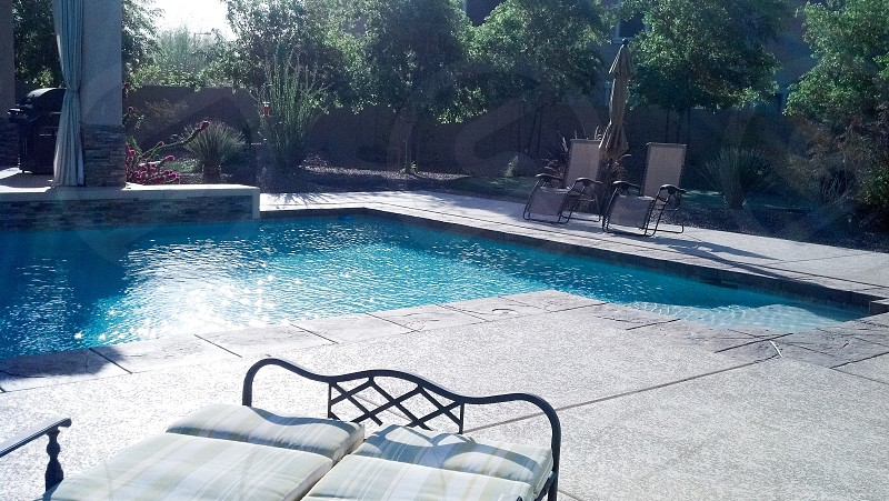 Pool swimming pool lounger chairs deck photo