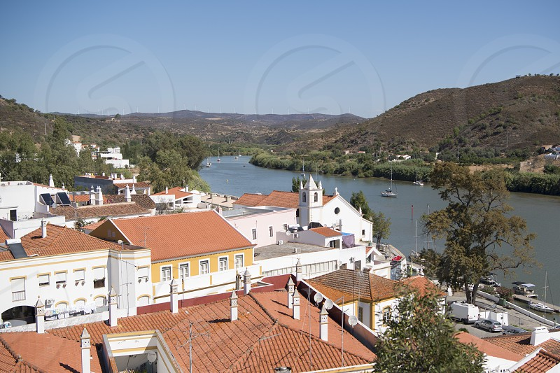 the town Alcoutim in Portugal at the river Rio Guadiana on the Border of portugal and Spain at the east Algarve in the south of Portugal in Europe. photo