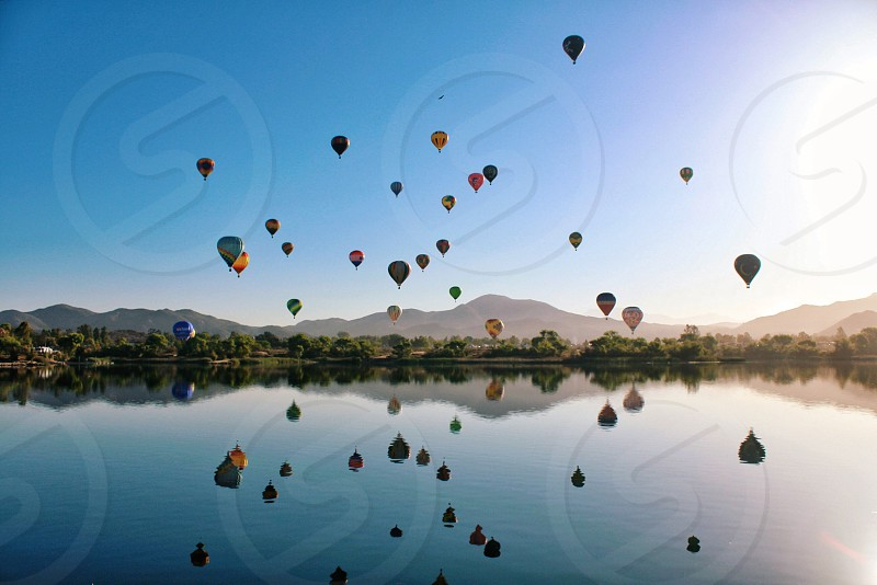 multicolored hot air balloons on sky photo