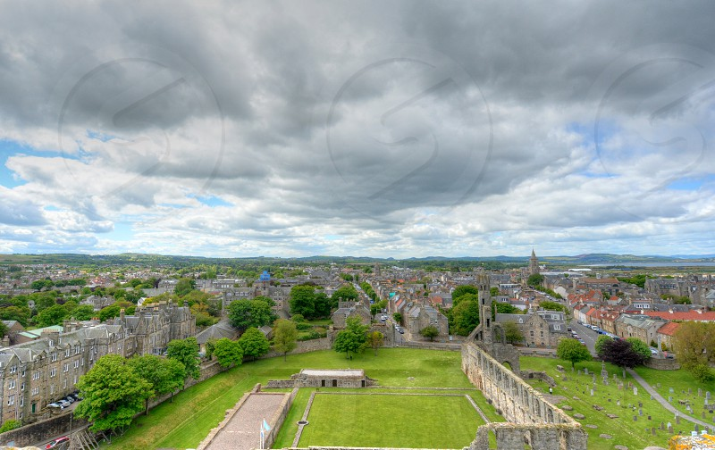 Aerial View of St. Andrews Scotland. photo