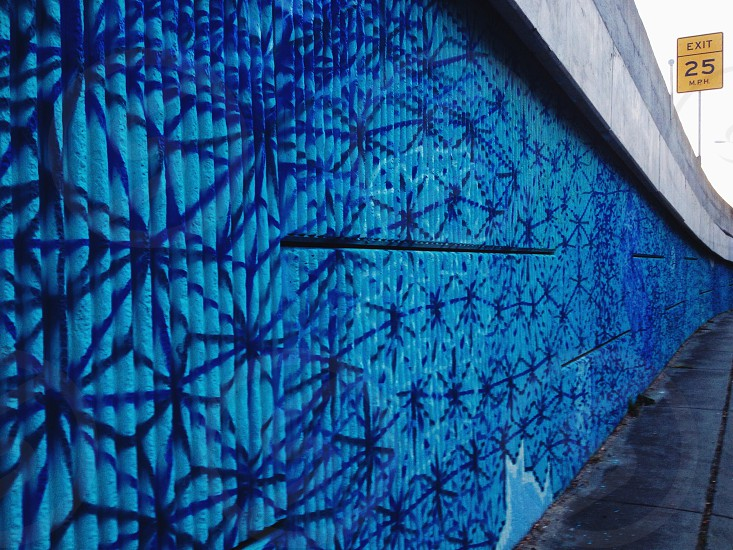 blue printed wall  photo
