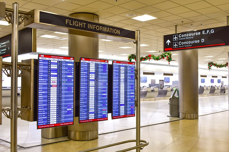Miami Florida. January 05 2019. Illuminated arriving sign at Miami International Airport  (1) photo