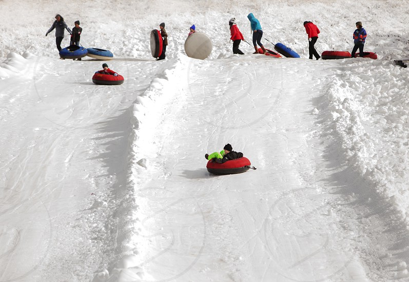 Snow tubing with the family in the Blue Ridge Mountains photo