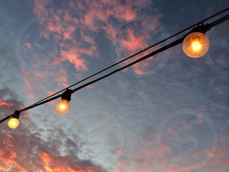 Lightbulb on string photo