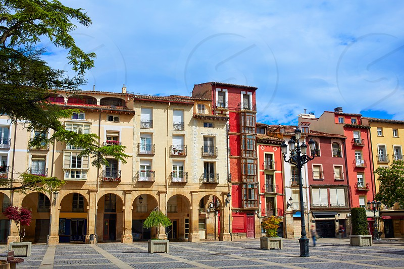 Way of Saint James Logrono Arcades in Mercado Plaza square La Rioja photo