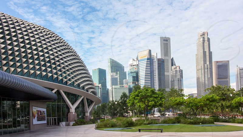 the skyline of Singapore with durian building as foreground photo
