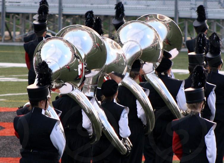 band tuba sousaphone silver music marching photo