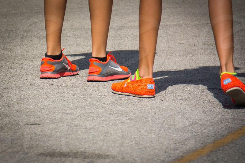women's grey orange nike running sneakers photo