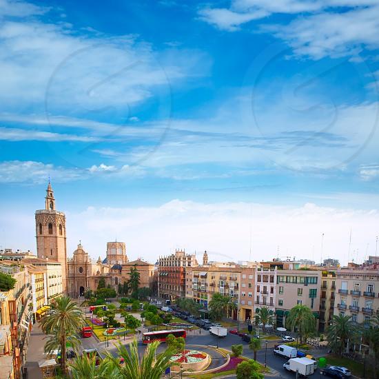 Valencia historic downtown El Miguelete and Cathedral  Micalet de la Seu in spain photo