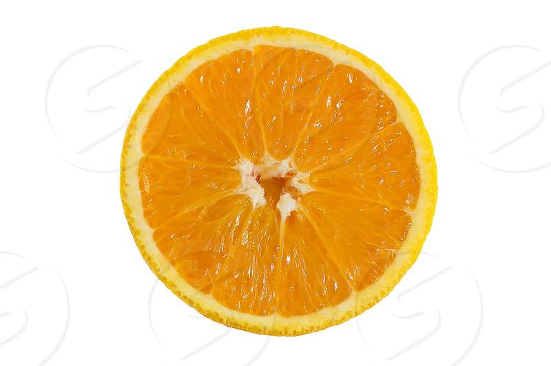 Opened orange close up on white background photo