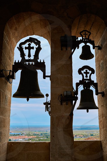 Concatedral de Santamaria Belfry bell Caceres in Extremadura at spain photo