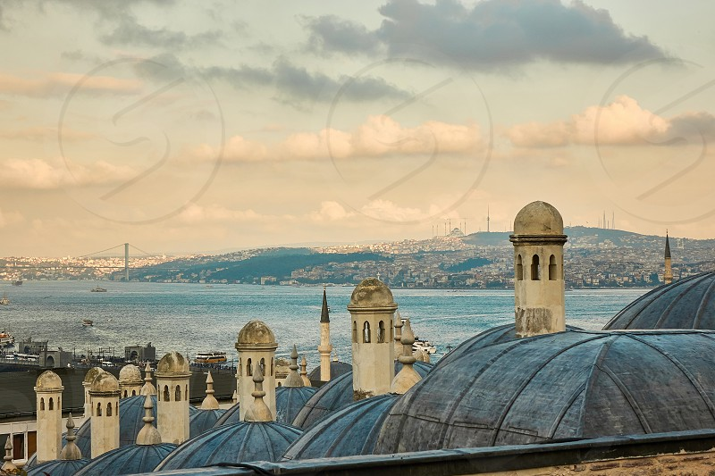 The beautiful Suleymaniy Mosque in Istanbul the top view of the dome against the sky. Turkey photo