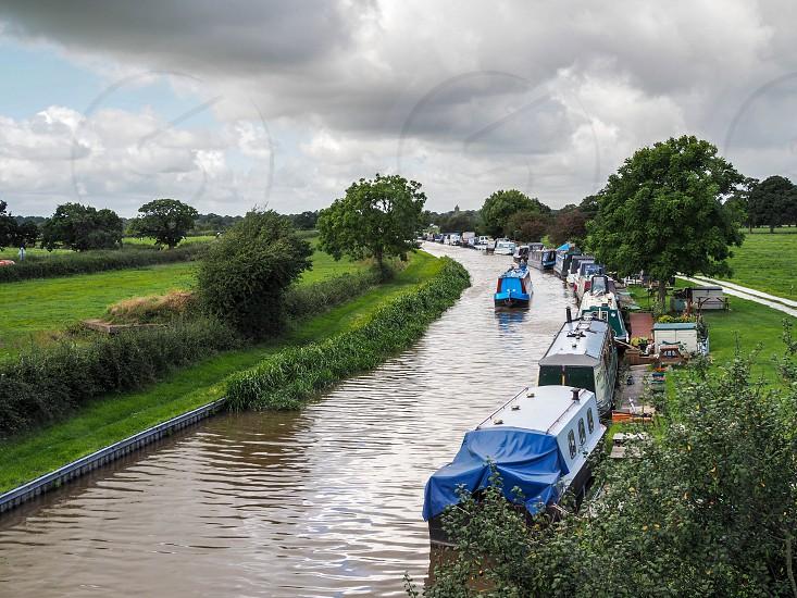 Narrow Boats Moored along the Shropshire Union Canal photo