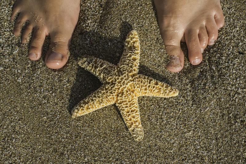 Starfish and feet on the beach. Sea waves photo