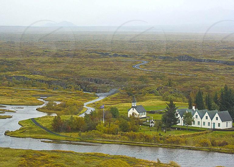 Iceland Church River Landscape photo
