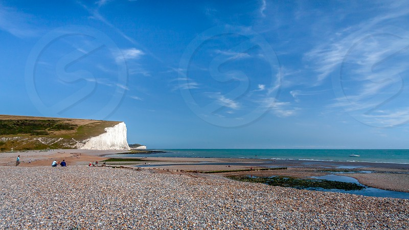 SEAFORD SUSSEX/UK - AUGUST 15 : Seven Sisters in Sussex on August 15 2008. Unidentified people photo