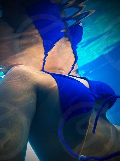 Underwater underwater photography. bathing suit blue photo