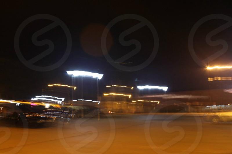 Car park light trails photo