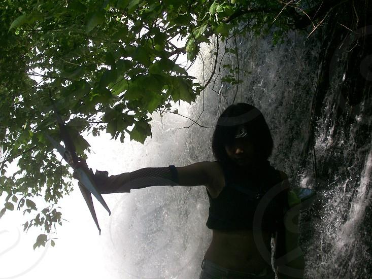 Ninja training at waterfall photo