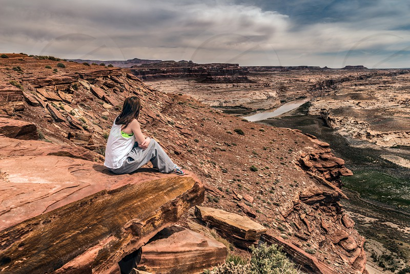 Woman overlooking Glen Canyon National Recreation Area Utah photo