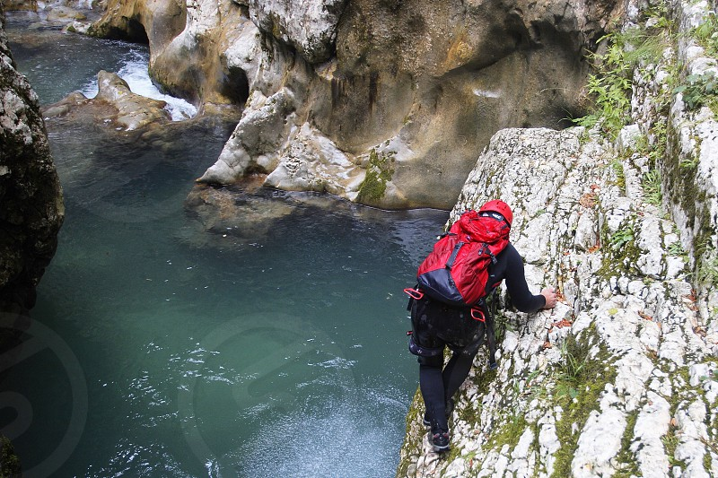 Backpacker in Nevidio canyon in Montenegro photo