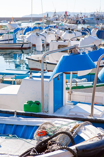Javea in alicante fisherboats in Mediterranean sea of Spain photo