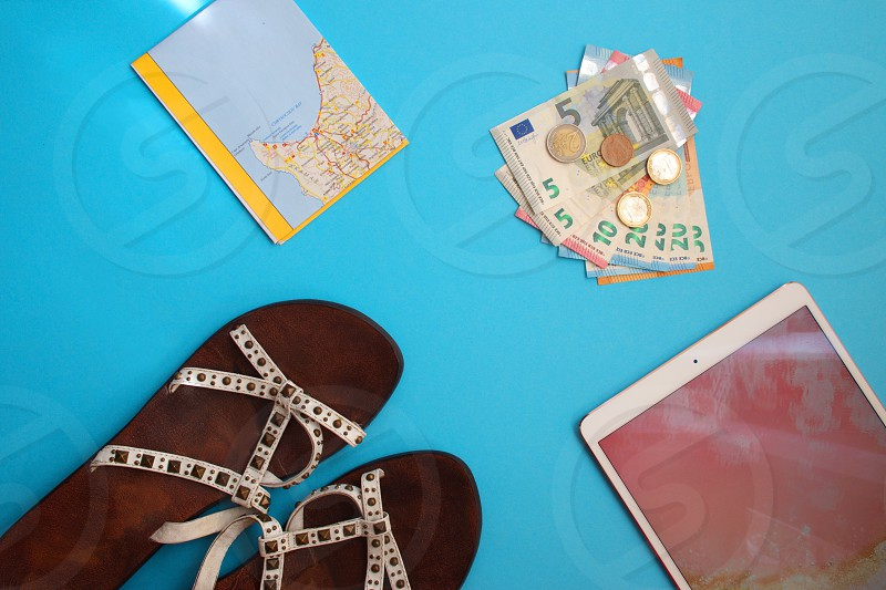 Colorful travel flat lay photo