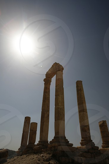 The Ruins of the citadel Jabel al Qalah in the City Amman in Jordan in the middle east. photo