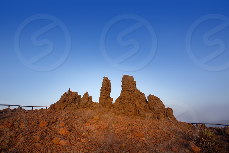 Roque de los Muchachos stones in Caldera Taburiente La Palma at Canary Islands photo