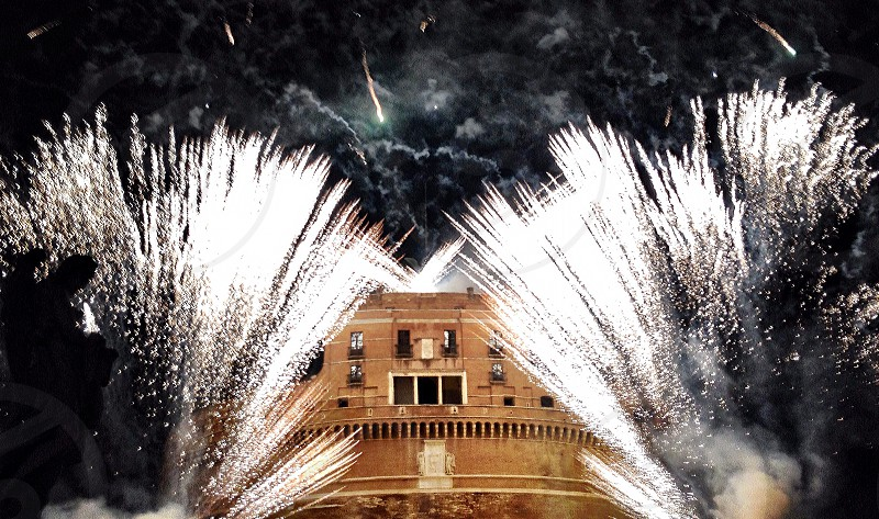Rome angel castle fortress tourism fireworks italy holy photo