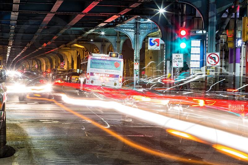 Philadelphia septa transportation night motion blur  photo