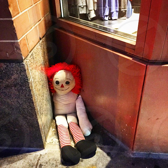 Abandoned raggedy Ann doll. photo