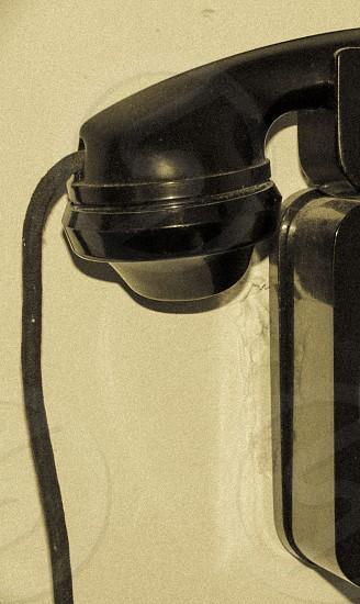 black corded home telephone photo