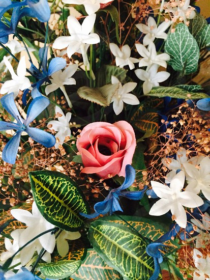Wedding Flowers; pink and blue flowers; bouquet  photo