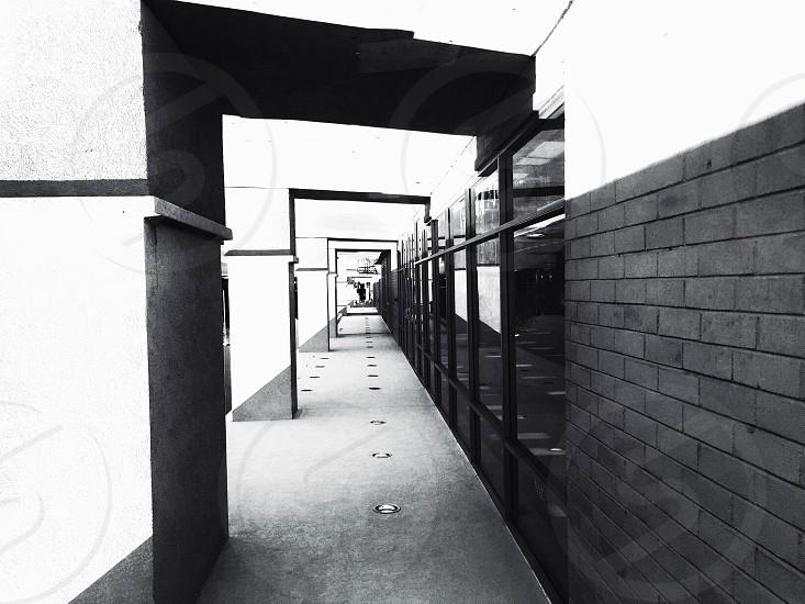 black and white street shot framed  photo