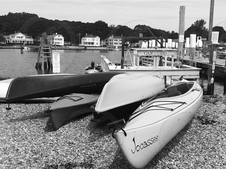 canoes near the water photo