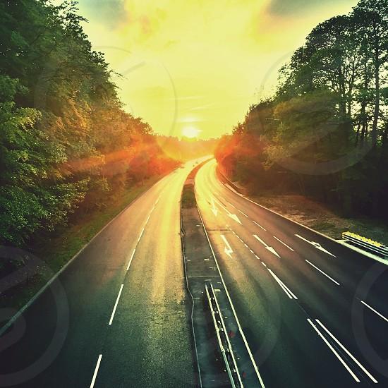 Motorway at sunset photo