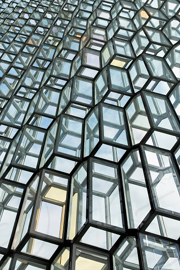 The amazing exterior of the Harpa opera house in Reykjavik Iceland. photo