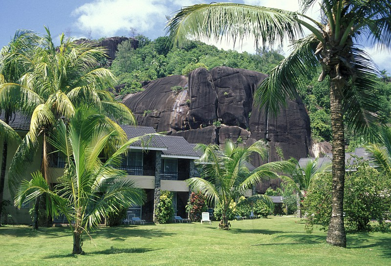 The hotel de mer on the Island Praslin of the seychelles islands in the indian ocean photo