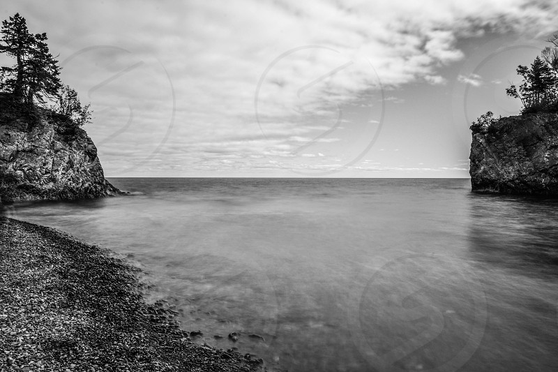Long exposure black and white of Lake Superior photo