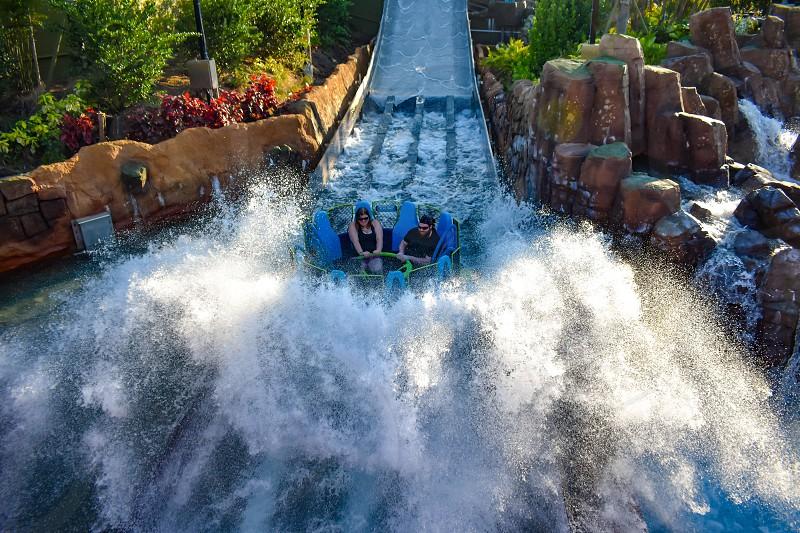Orlando Florida. March 09 2019. People having fun river attraction ride Infinity Falls at Seaworld Marine Theme Park photo