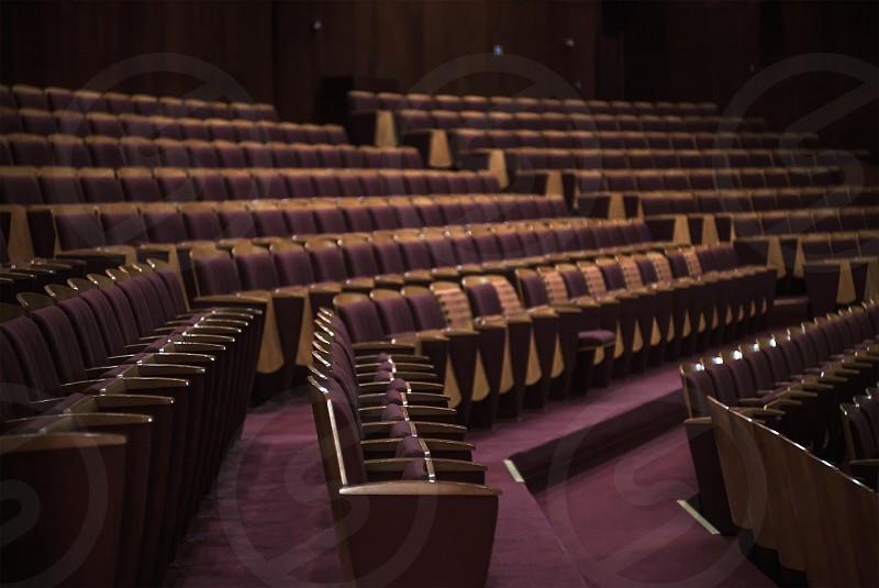 Details of big public theater hall interior.  photo