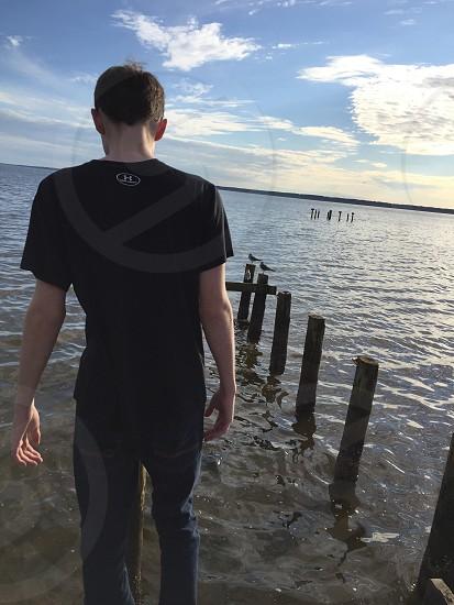 Water;dock;boy photo