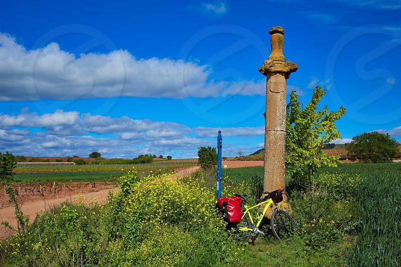 Azofra Saint James Way cross column monument at La Rioja photo