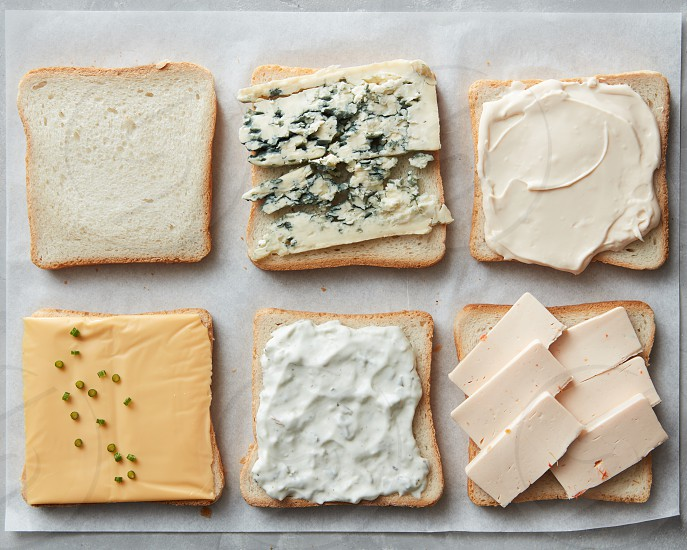 Different kinds of cheeses on toasts on paper close up photo