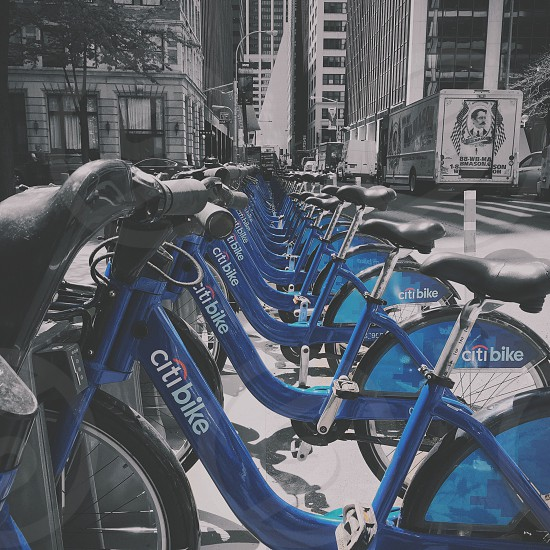 selective-color photo of blue Citi Bike bicycles lined up beside a road photo