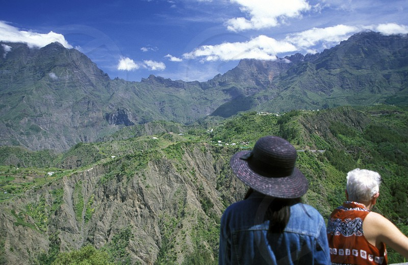 The landscape allround the Grand Bassin on the Island of La Reunion in the Indian Ocean in Africa. photo